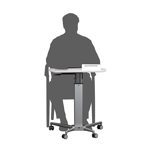Height adjustable lectern and table - table position