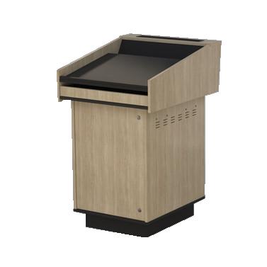 single bay lectern built from Bleached Elm melamine board.