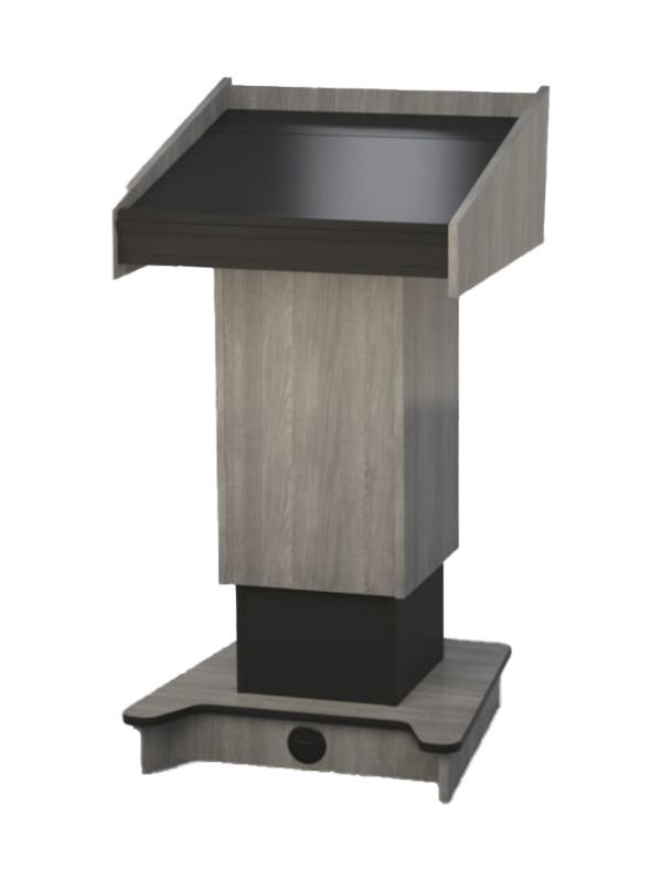 Presenters Side. Fixed height lectern built in Fox Teakwood melamine board.