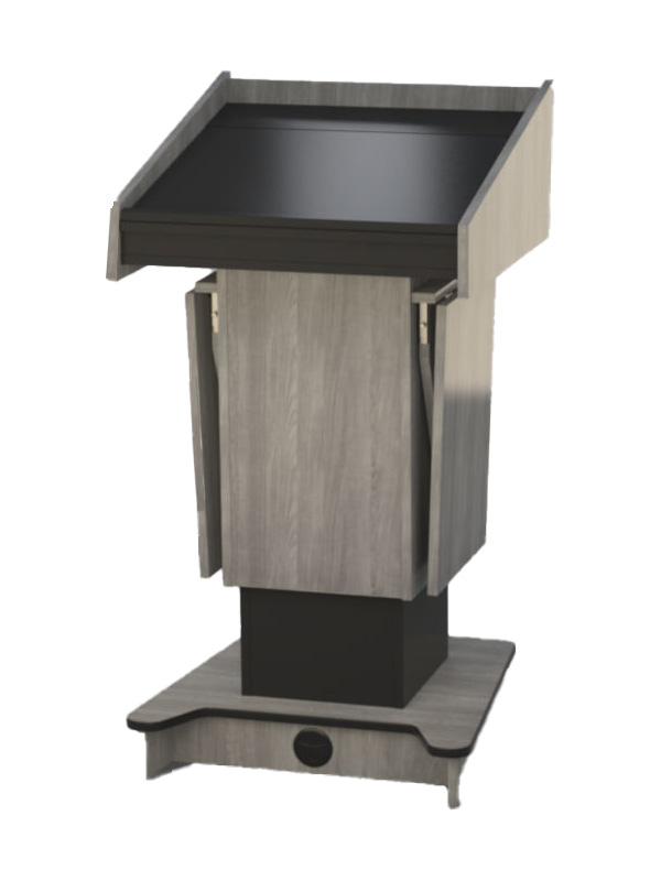 Post style lectern with external shelves in the lowered position.