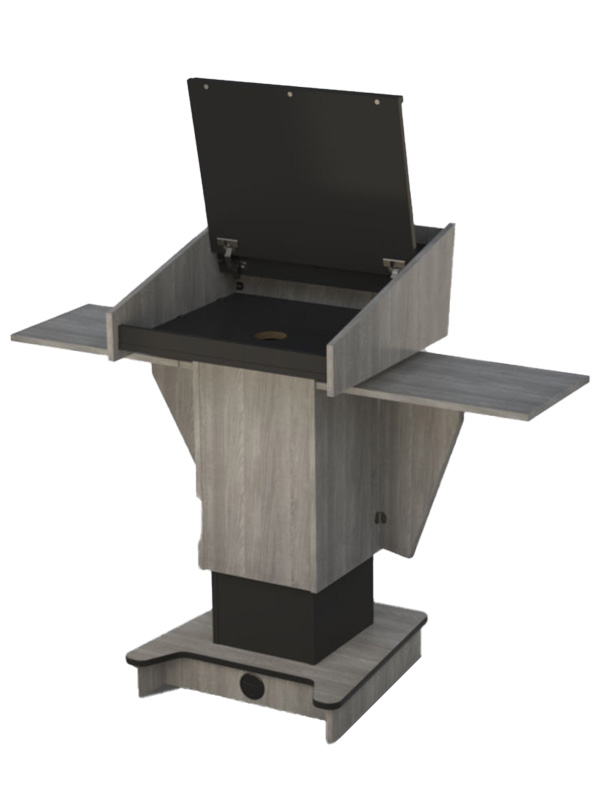 Post style lectern external shelves in teh raised position. Hinged top open.