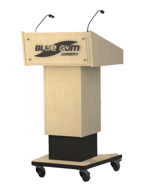 Variable height lectern shown with various options. Audience side.