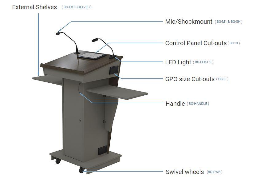 BGL-PS35 Lectern Presentation Platform with AV Componentry