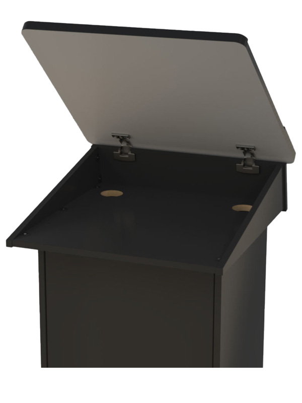 Lectern showing hinged top in open position.