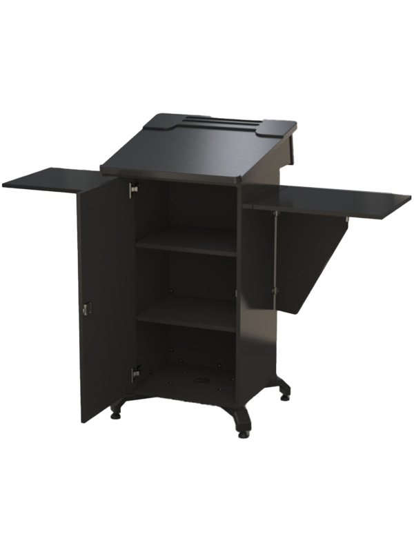 Post style lectern shown with door open and showing two internal shelves.
