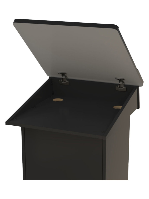 Post style lectern shown with hinged top in open position.