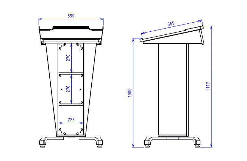 BGL-PS50-P Post style lectern with fixed and removable open shelves with angled lift up worktop
