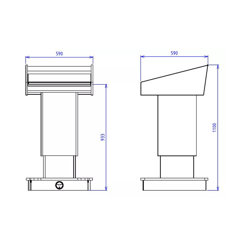 BGL-PS200-FH Post style lectern with fixed height and NO external shelves.