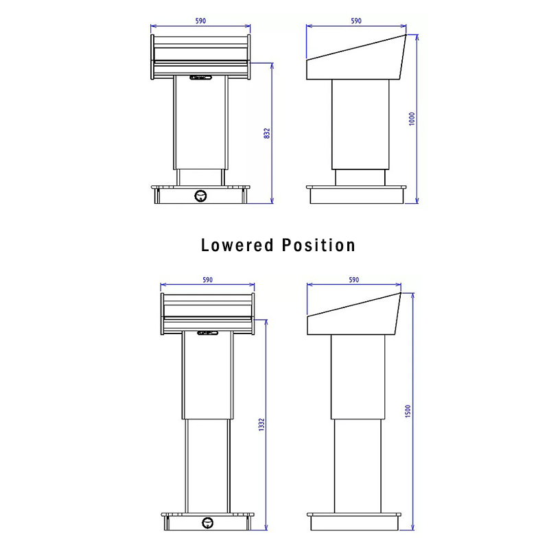 BGL-PS200-VH Post style variable height lectern with NO external shelves.