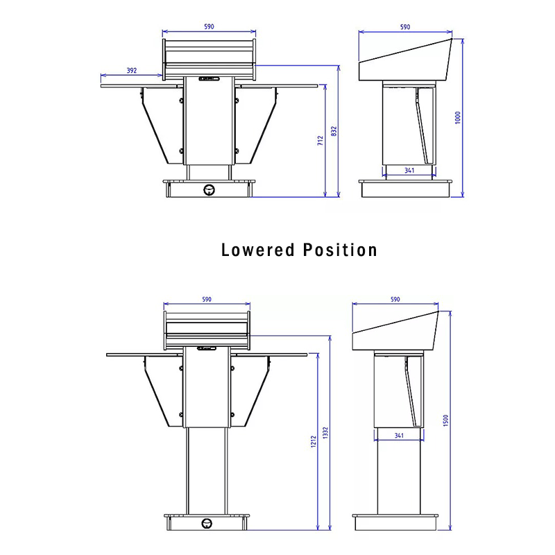 BGL-PS200-VH-S Post style variable height lectern with external fold-down shelves.