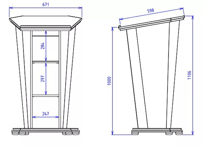 Post style lectern with fixed and removable open shelves with angled lift up worktop.