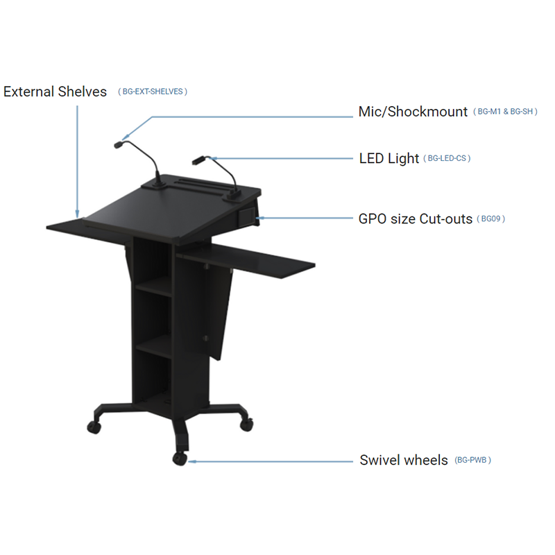 Post style lectern with fixed and removable open shelves with angled lift up worktop