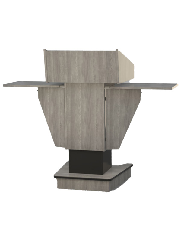 Post style lectern viewed from audience side.