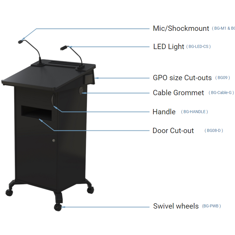 BGL-PSC75 Post style lectern with lockable cabinet and angled lift up worktop.