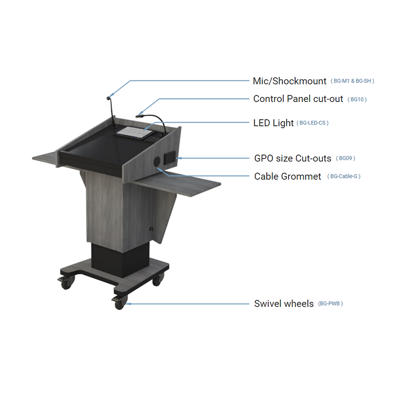 BGL-PS200-FH-S Post style lectern with fixed height and external fold-down shelves.