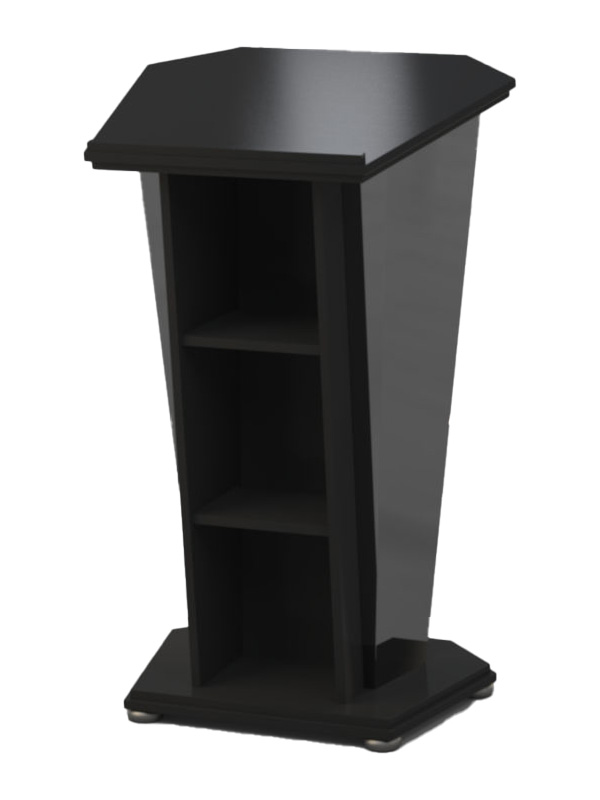 Presenters side, built from Black melamine board with Black ice front panel.