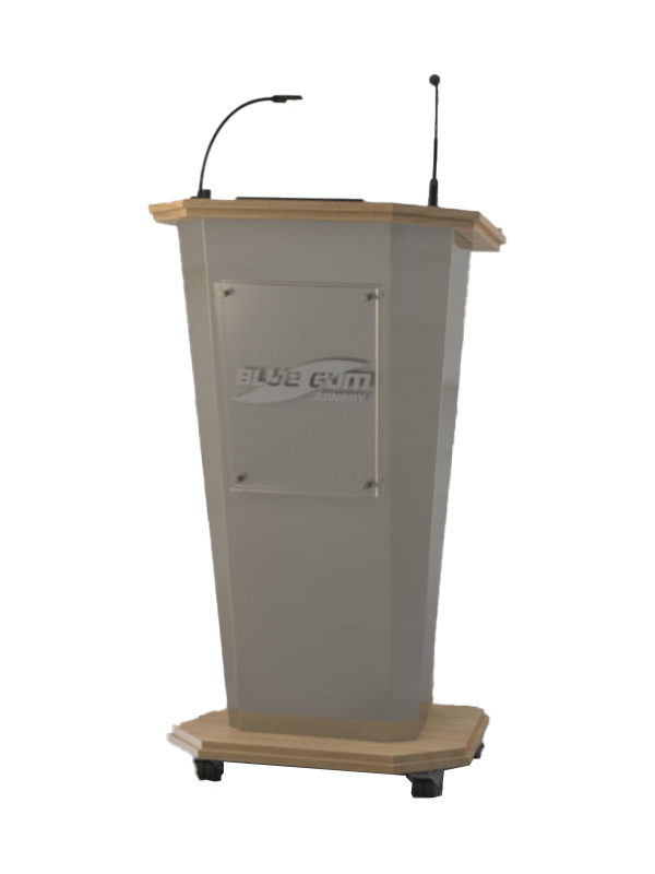 Audience side, built with Classic oak Melamine board and Champagne Perle face panel. Optional Logo.