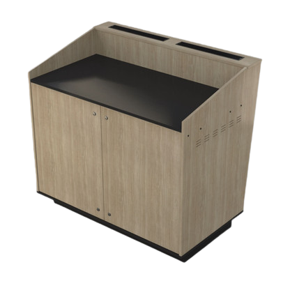 A-Series Double bay lectern built in Bleached Elm melamine board.