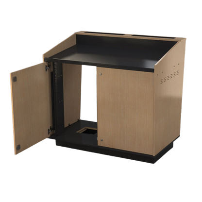BGL-M02A - Double bay lectern with rack strip spacer panels.