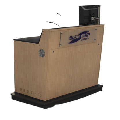 A-Series double bay lectern with castor wheels beind kickboards and perspex logo.