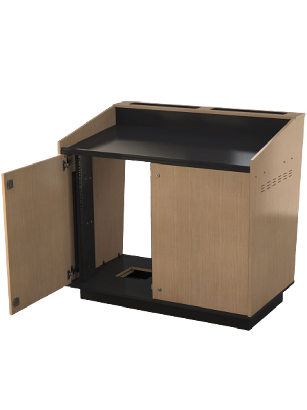 Double bay lectern with rack strip spacer panels.