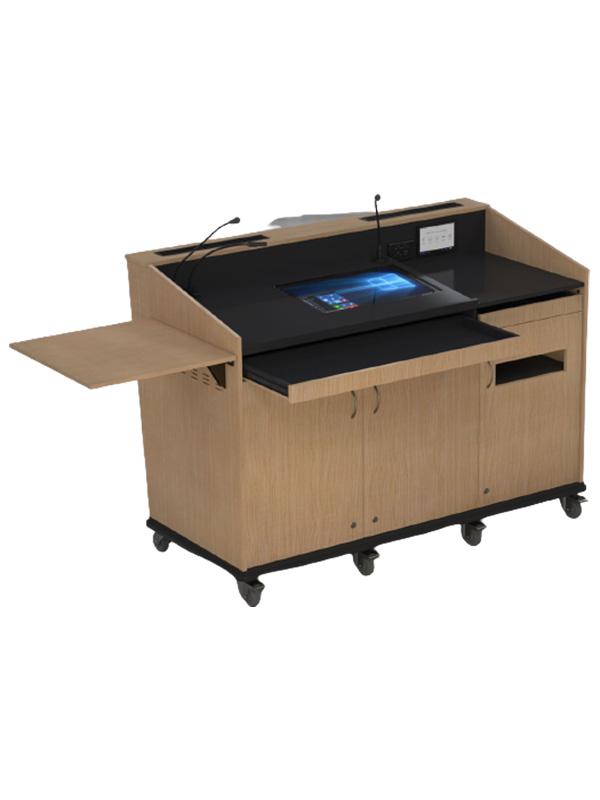 External shelf raised and drawer open.