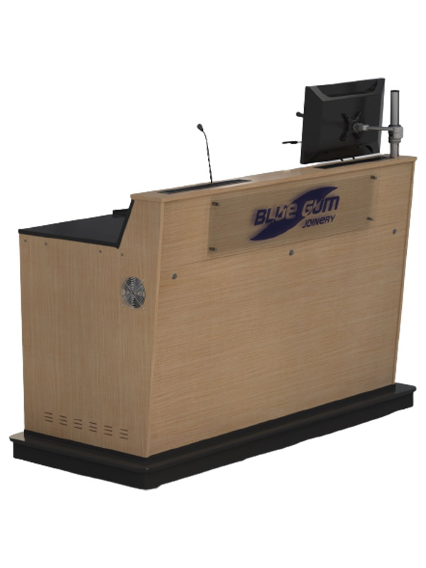A-Series 3 bay lectern with cut-down ends and monitor pole.