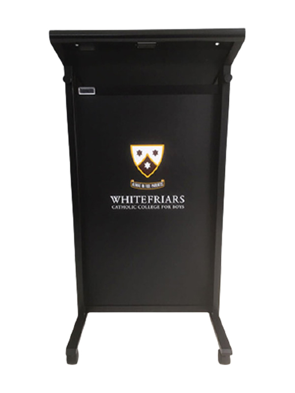 Multimedia Chancellor Lectern with Aluminum Frame Black color