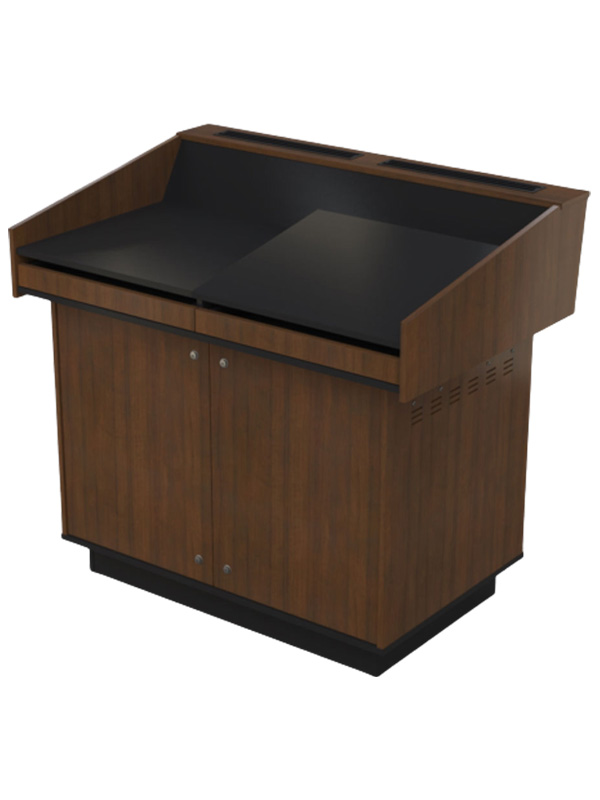 Double bay lectern with Right hand angled benchtop.