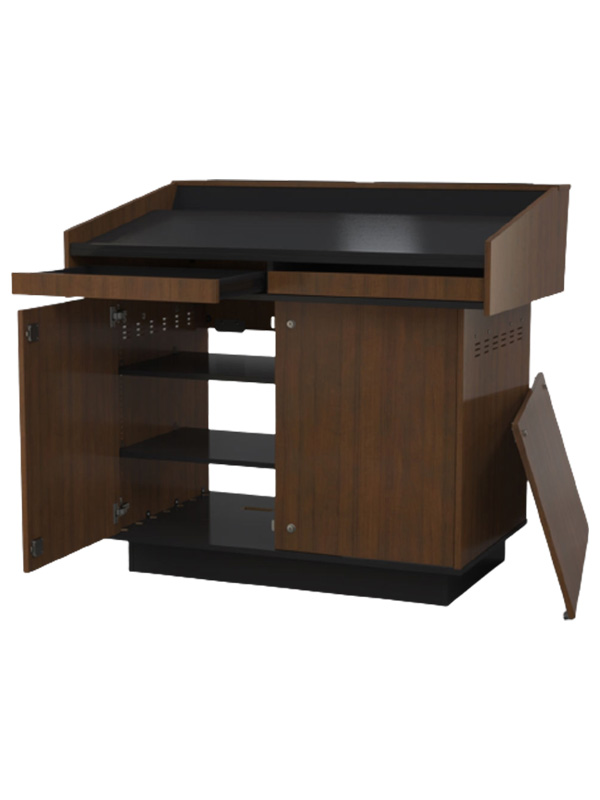 Double bay lectern with door and drawer open.