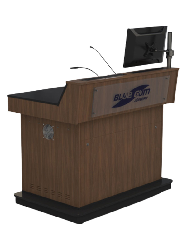 Double bay lectern with Left hand angled benchtop.