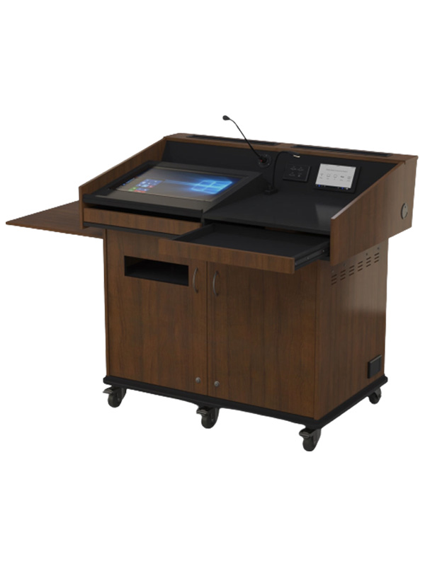 Double bay lectern with angled benchtop.