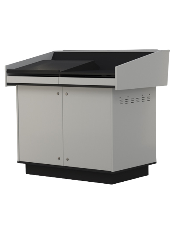 Double bay lectern built from White melamine board.