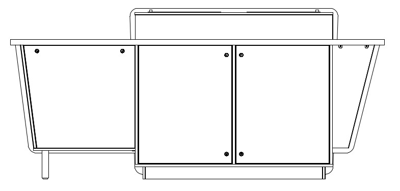 G-Series Double Bay Presenter Table - Right-Hand equipment cabinet