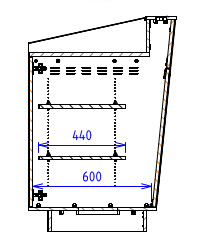 Single Bay - Flatwork surface with angled back