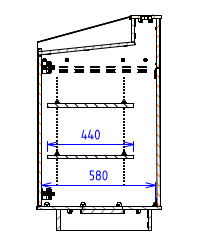 Double Bay - Angled work surface with flat back - Narrow depth