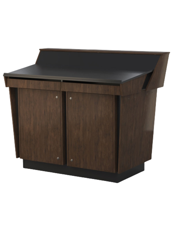 Double bay lectern built in Aged Walnut and Black melamine board.