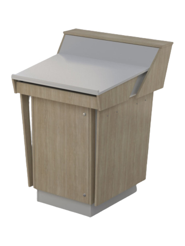C-Series Single Bay Lecterns Bleached Ash and Black melamine board