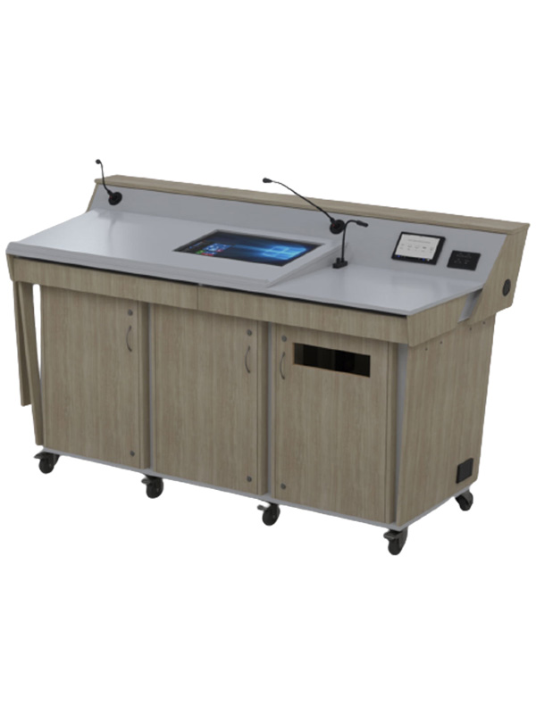 Triple bay lectern is a three-door wide lectern with pull out keyboard drawers and angled data panel