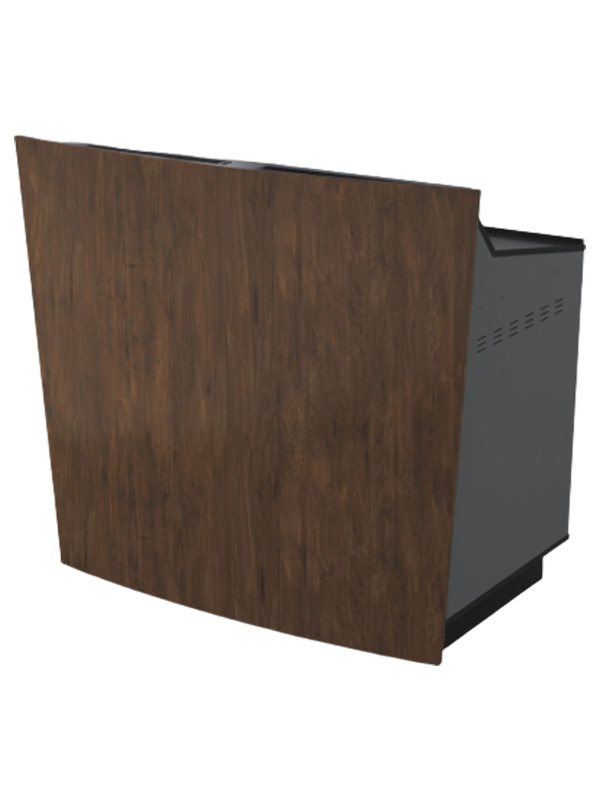 D-Series double bay lectern with Gunmetal grey body and aged walnut curved panel.