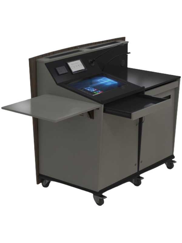 D-Series double bay lectern with external shelf in raised position.