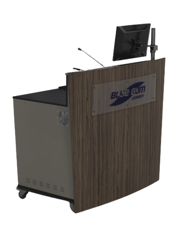 D-Series double bay lectern with optional perspex logo and monitor pole.