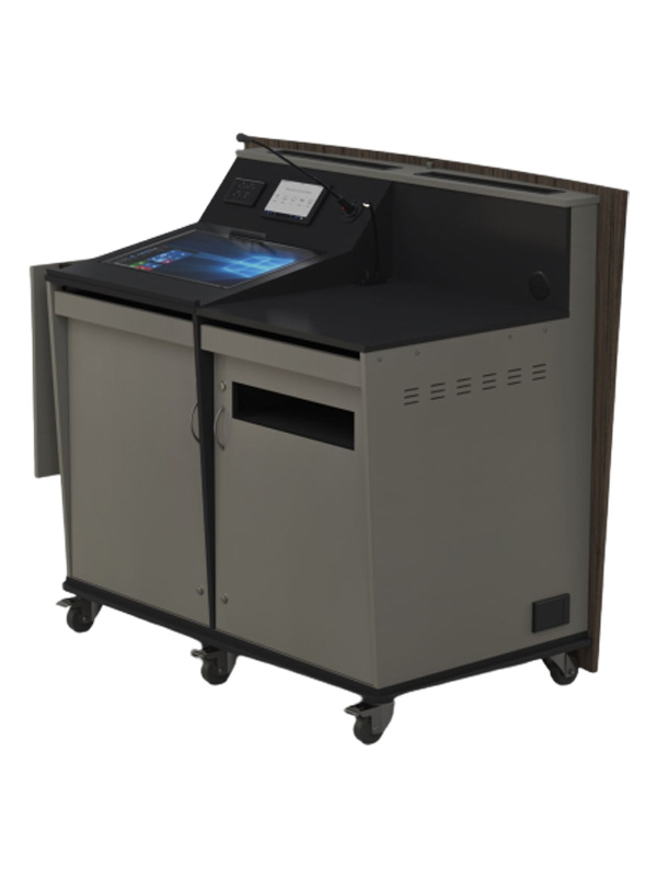 D-Series double bay lectern with castor wheel base,