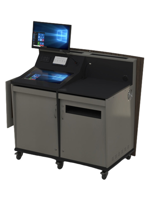 Two-door wide lectern with angled data panel where touch screens, power/data points etc