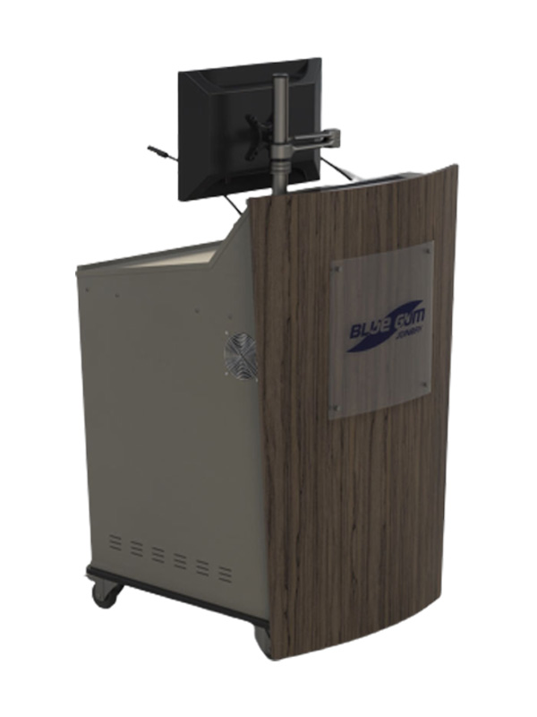 Single bay lectern with monitor pole.