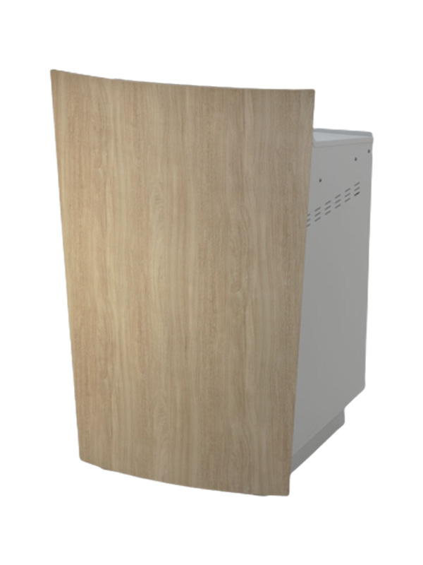 Single bay lectern with Bleached Elm front panel and White body.