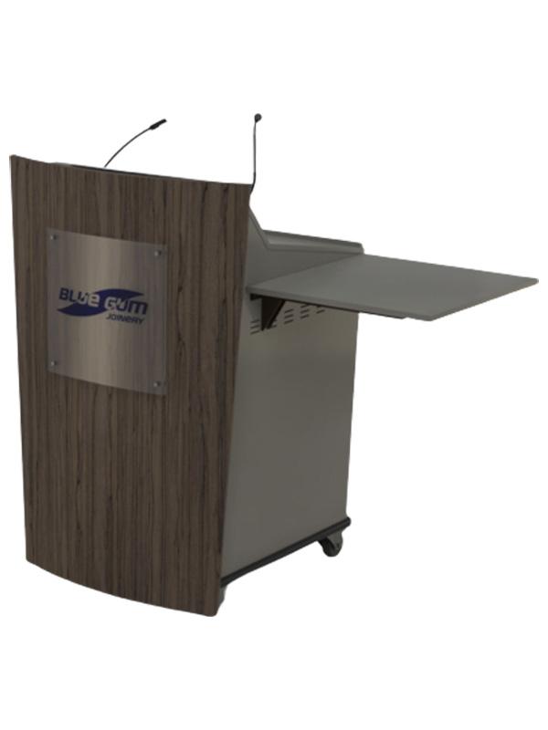Single bay lectern with optional logo and castor wheel base.