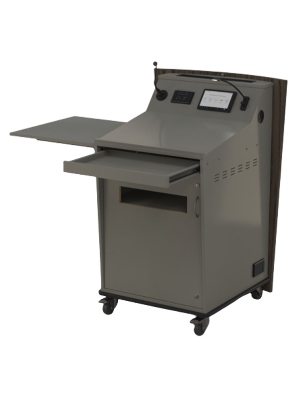 Single bay lectern with various options. External shelf and drawer raised.