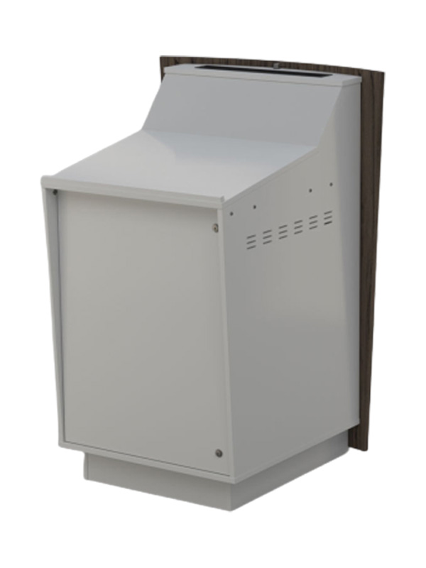 Single bay lectern with White body.