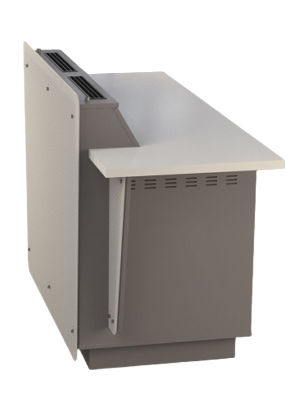 Side view of double bay G-Series lectern